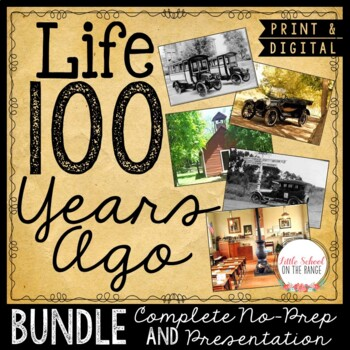 100th Day of School: Communities Then and Now BUNDLE
