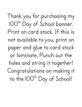 100th Day of School Banner Printable PDF