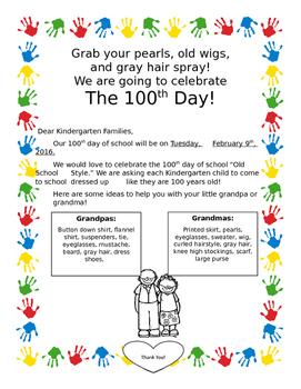 100th Day of School Celebration Letter Home Kindergarten