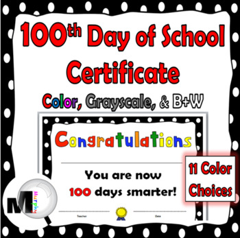 100th Day of School Certificate {100 Days}