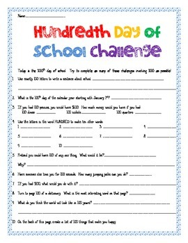 100th Day of School Challenge
