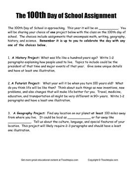 100th Day of School Choices  Writing Assignment Project fo