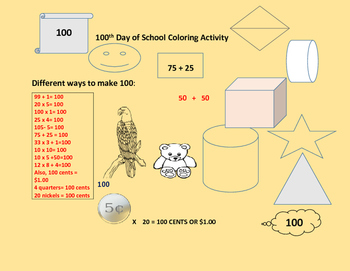 100th Day of School Coloring Activity