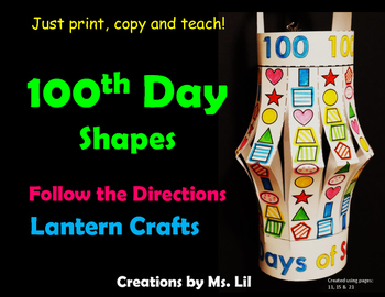 100th Day of School Craft  ::  100 Day Math Activity ::  1