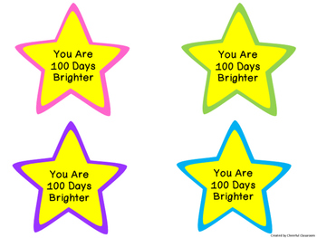 100th Day of School Glow Stick Topper - 100 Days Brighter