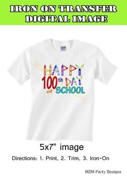 100th Day of School Iron on Transfer, Instant Download