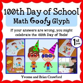 100th Day of School Math Goofy Glyph (1st Grade Common Core)