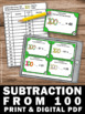 Subtraction from 100 Math Center 100th Day of School 2nd 3