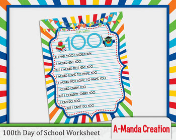 100th Day of School Printable Worksheet