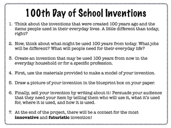 100th Day of School STEAM Invention