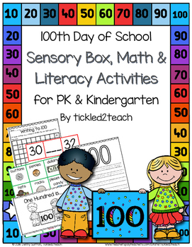 100th Day of School Sensory Tub, Math Center and Literacy
