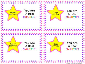 100th Day of School Smartie Card