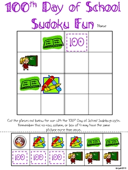 100th Day of School Sudoku Fun (Primary)