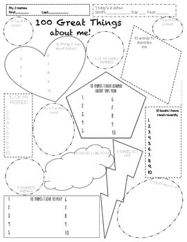 100th day- 100 Great things Worksheet