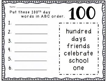100th day ABC order FREEBIE