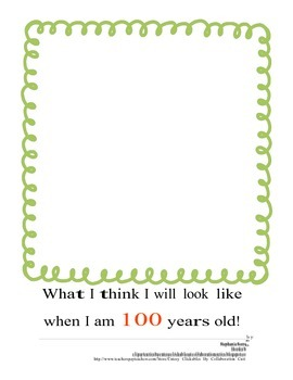 100th day of school packet for writing, math, and art.