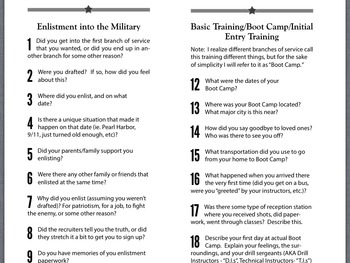 101 Questions to Ask Any Military Veteran with Lesson Guide