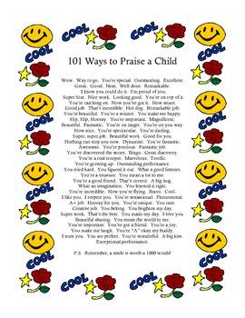 101 Ways to Praise a Child / Printable Poster