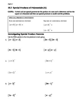 10.3 Special Products of Polynomials (A)