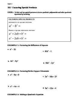 10.7 Factoring Special Products