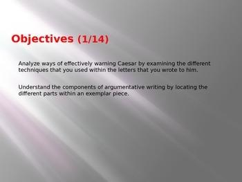 10th Grade English Weekly Lesson Plans - Julius Caesar