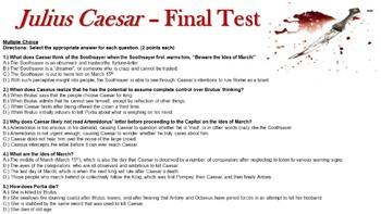 Julius Caesar Lesson Plans & Final Exam - Multiple Choice