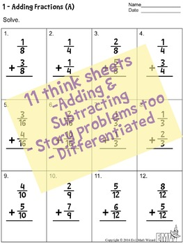 11 Adding and Subtracting Fraction Worksheets with Common