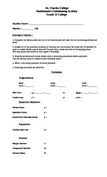 11 College Mathematics Culminating Activity/Exam Review (v