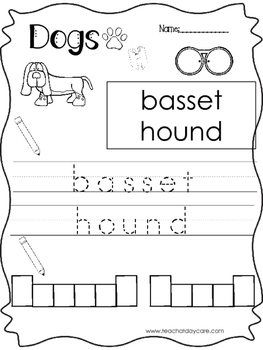 11 Color, Read, Trace, and Box Write Dogs Worksheets. Pres