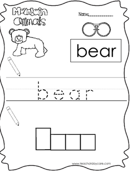 11 Color, Read, Trace, and Box Write Mountain Animals Work