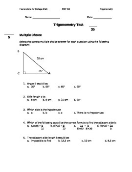 11 Foundations for College Mathematics Trigonometry Test