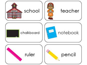 11 School Time Beginning Stages Flashcards. Preschool-1st Grade