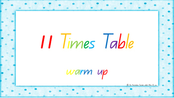 11 Times Table Warm Up ACARA C2C Common Core aligned PowerPoint