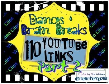 110 Dances & Brain Breaks (Part 2)- YouTube Video Links fo