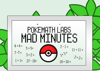 114 PokeMath Mad Minutes: Addition, Subtraction, Mixed Ope
