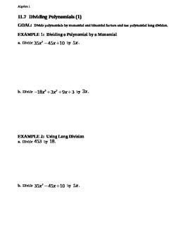 11.7 Dividing Polynomials (1)