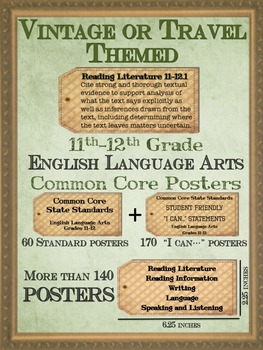 11th-12th Grade ELA Common Core Posters - Vintage or Travel Theme