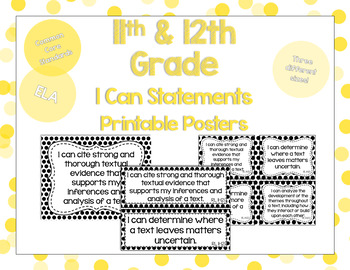 11th and 12th Grade ELA I Can Statements for CCSS Standard