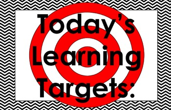 11x17 Chevron Daily Learning Targets Bulletin Board Set