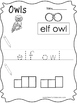 12 Color, Read, Trace, and Box Write Owls Worksheets. Pres