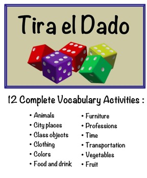 12 Spanish Vocabulary Speaking Activities with Dice for Sm