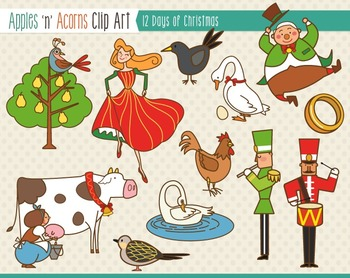 12 Days of Christmas Clip Art - color and outlines