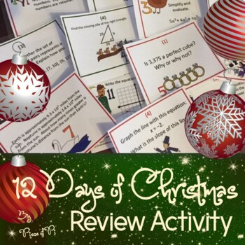8th Grade Math Common Core Test Prep 12 Days of Christmas