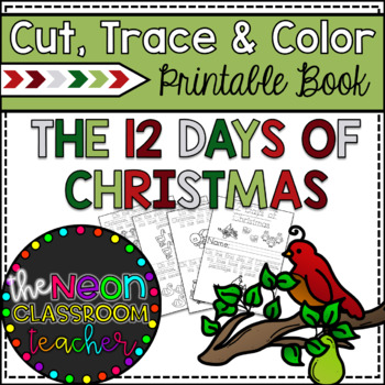 """""""12 Days of Christmas"""" Cut, Trace & Color Printable Book"""