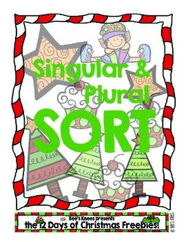 12 Days of Christmas: Singular Plural Noun Sort