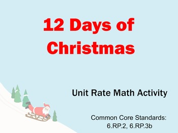 12 Days of Christmas Unit Rate Math Activity