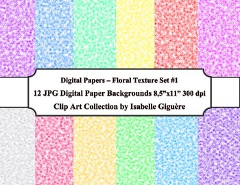 Digital Papers Background - 12 Floral Texture - Set #1 (Co
