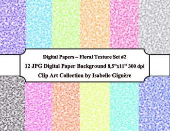 Digital Papers Background - 12 Floral Texture - Set #2 (Co