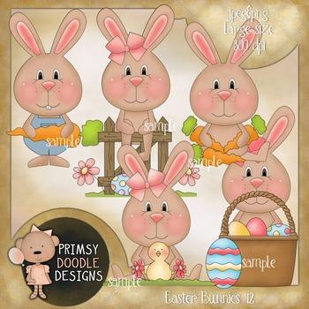 12-Easter Bunnies 300 dpi Clipart