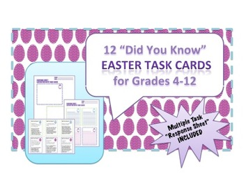 """12 Easter Task Cards - """"Did You Know?"""" Fun Facts with Self"""